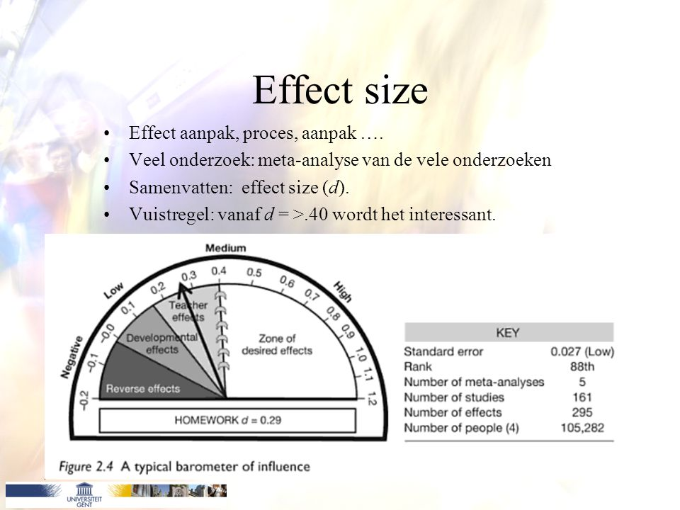 Effect size Effect aanpak, proces, aanpak …. Veel onderzoek: meta-analyse van de vele onderzoeken.