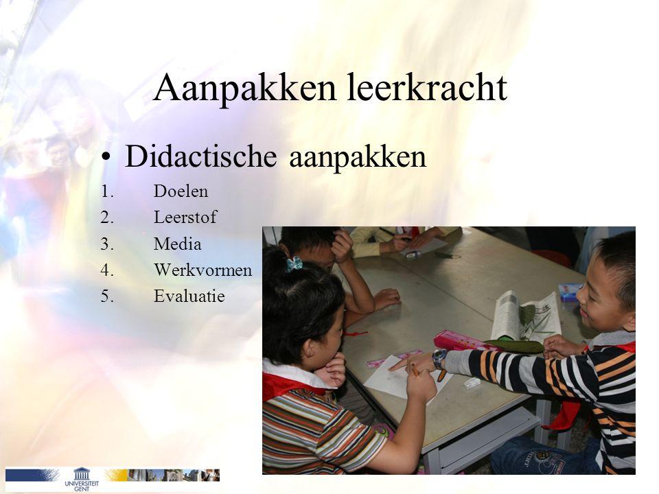 Aanpakken leerkracht Didactische aanpakken Doelen Leerstof Media