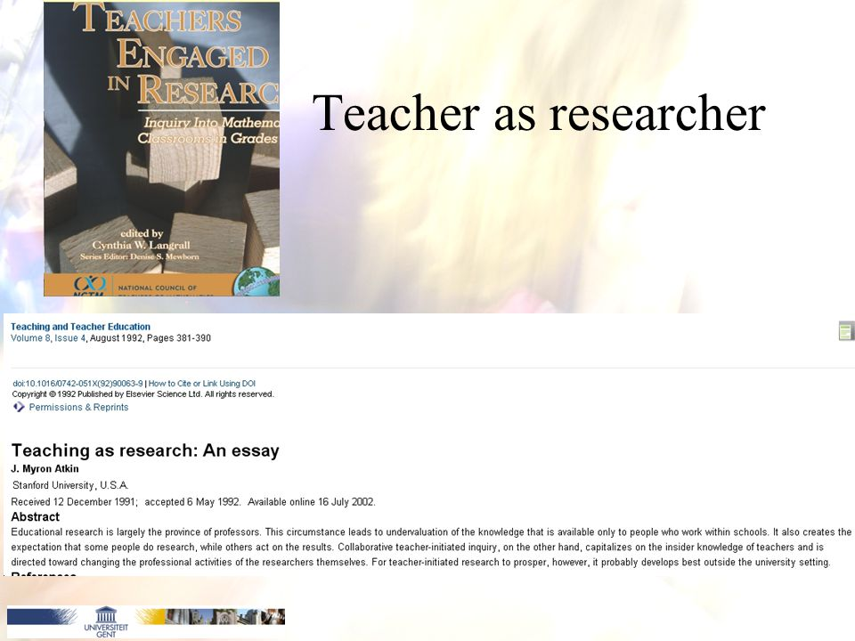 Teacher as researcher