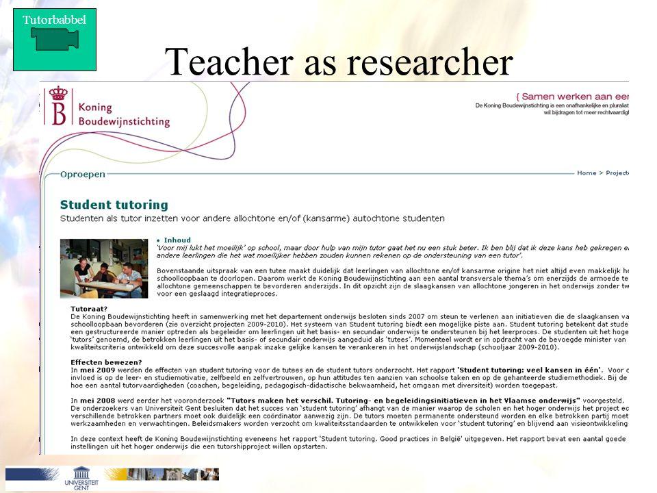 Tutorbabbel Teacher as researcher