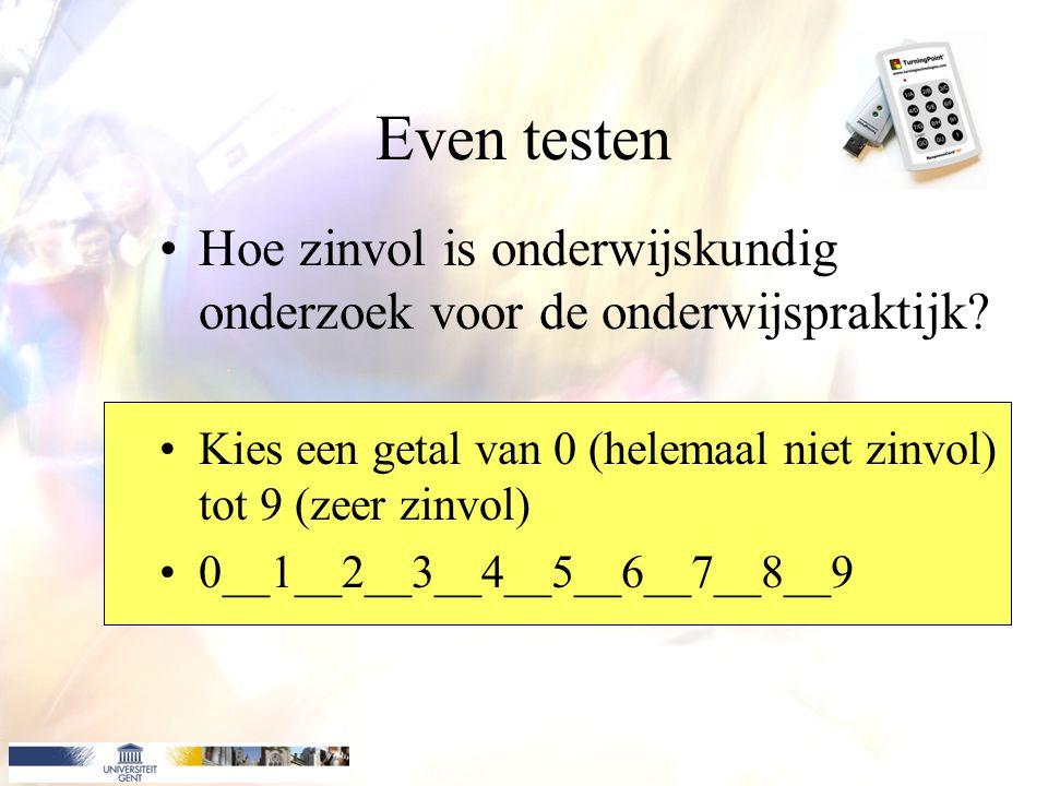 Even testen Hoe zinvol is onderwijskundig onderzoek voor de onderwijspraktijk Kies een getal van 0 (helemaal niet zinvol) tot 9 (zeer zinvol)