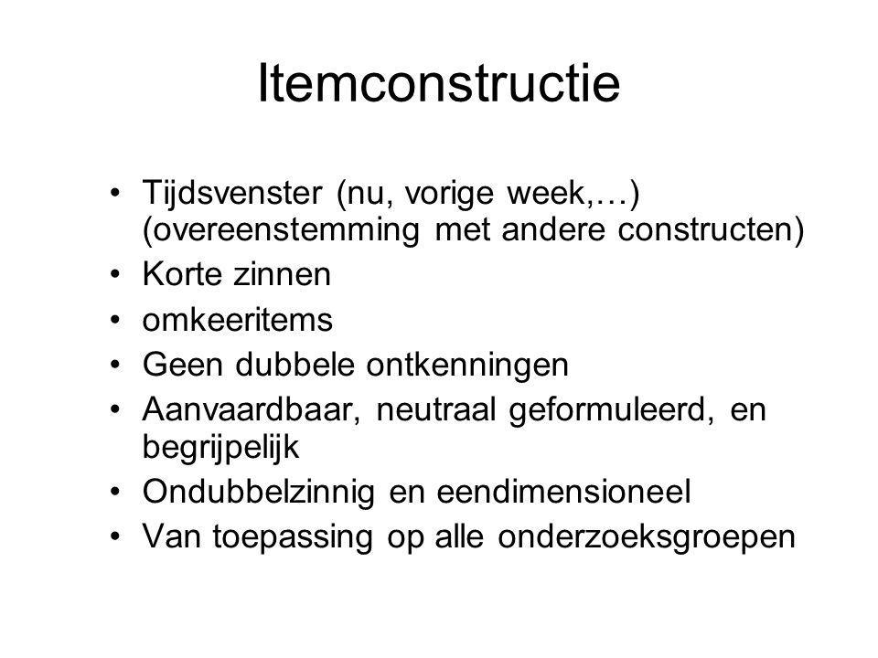 Itemconstructie Tijdsvenster (nu, vorige week,…) (overeenstemming met andere constructen) Korte zinnen.
