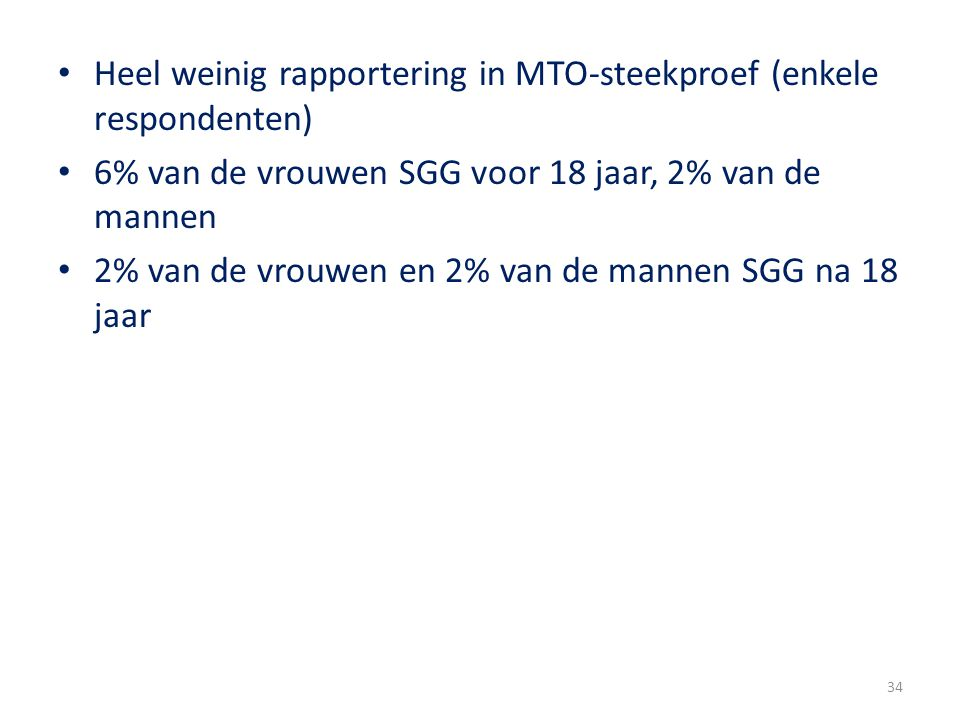 Heel weinig rapportering in MTO-steekproef (enkele respondenten)