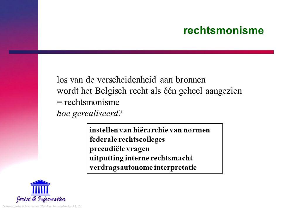 rechtsmonisme los van de verscheidenheid aan bronnen wordt het Belgisch recht als één geheel aangezien = rechtsmonisme hoe gerealiseerd