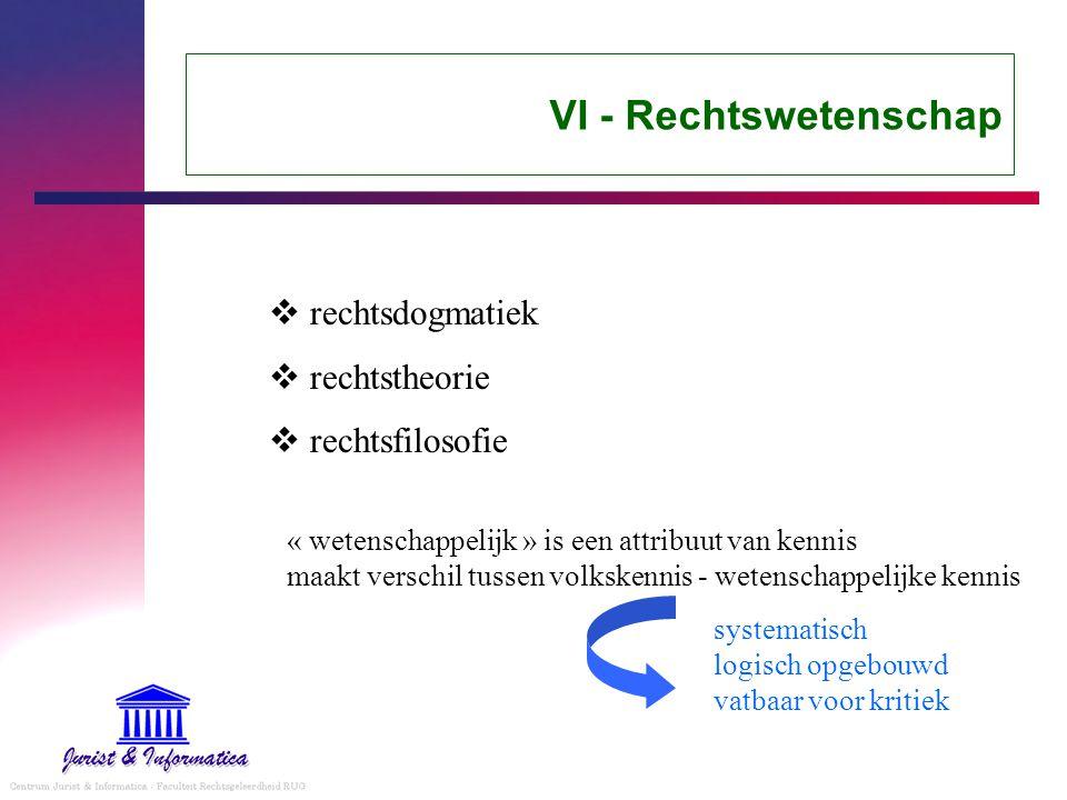 VI - Rechtswetenschap rechtsdogmatiek rechtstheorie rechtsfilosofie