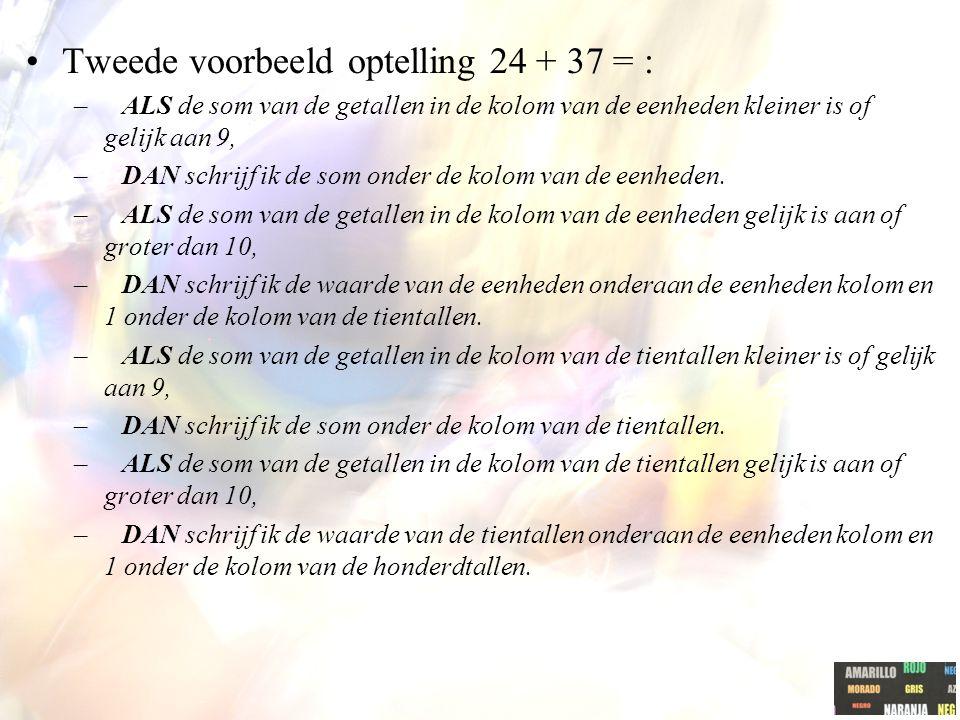 Tweede voorbeeld optelling 24 + 37 = :