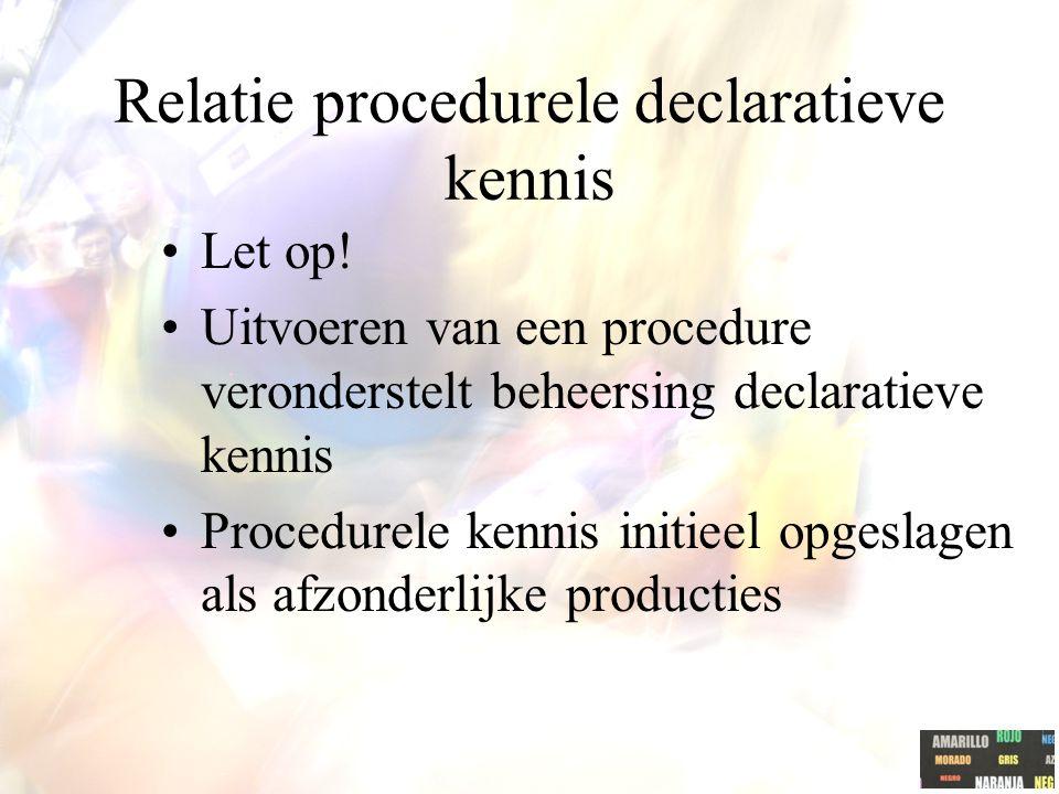 Relatie procedurele declaratieve kennis