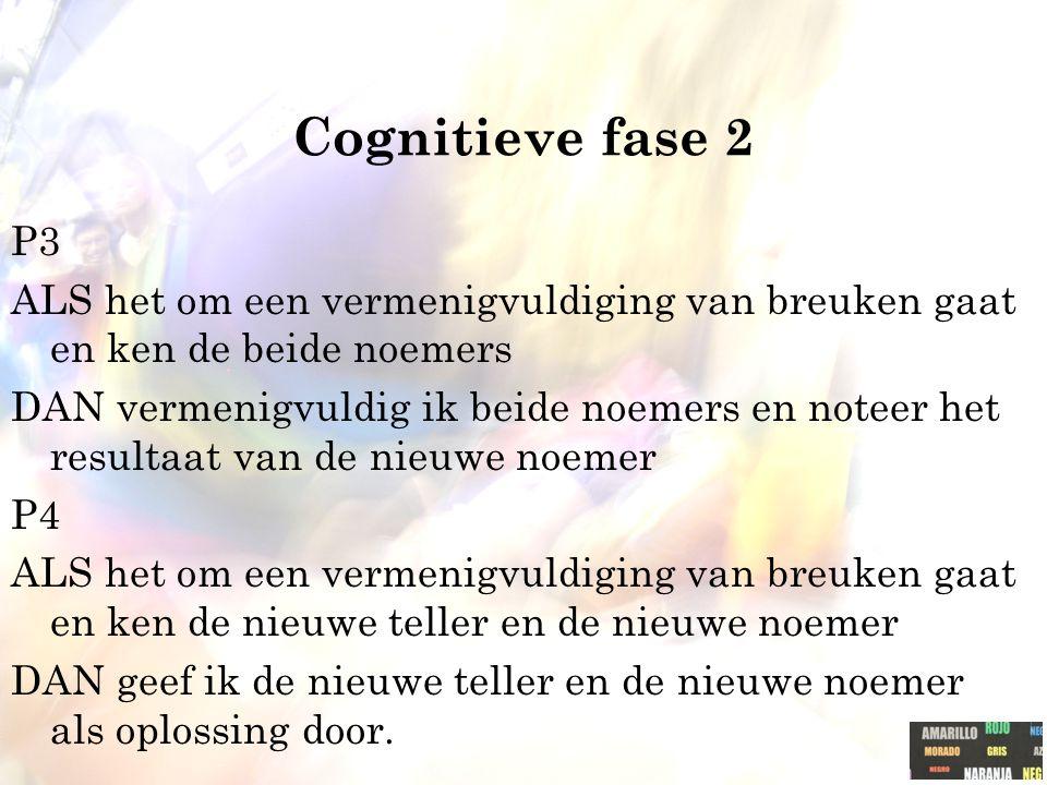 Cognitieve fase 2 P3. ALS het om een vermenigvuldiging van breuken gaat en ken de beide noemers.