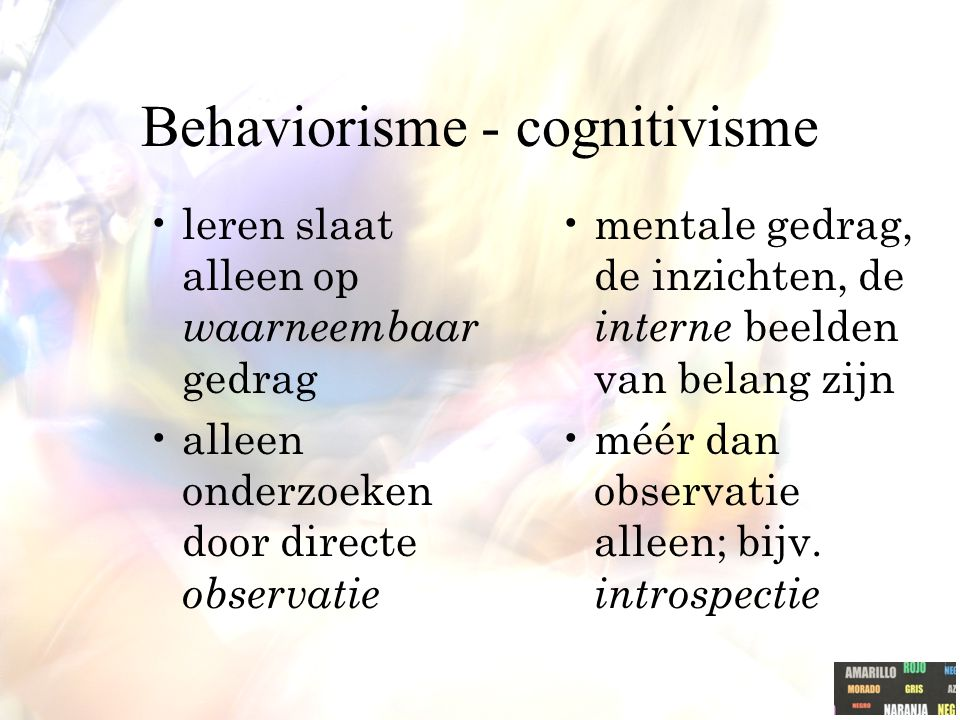 Behaviorisme - cognitivisme