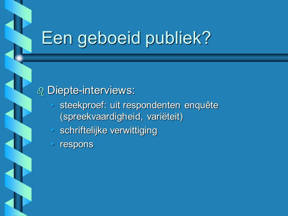 Een geboeid publiek Diepte-interviews: