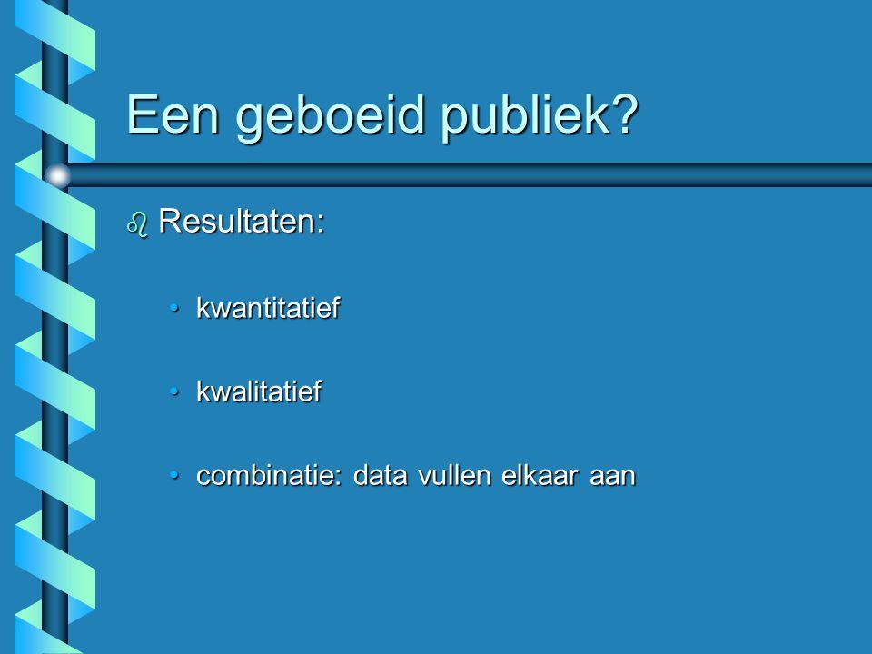 Een geboeid publiek Resultaten: kwantitatief kwalitatief