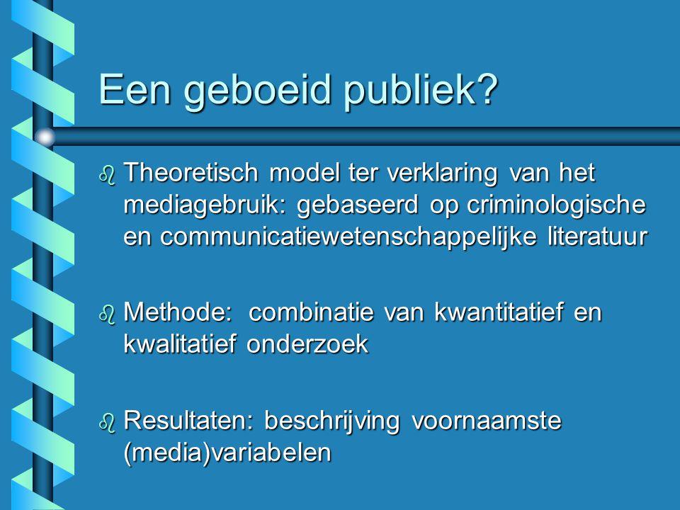 Een geboeid publiek Theoretisch model ter verklaring van het mediagebruik: gebaseerd op criminologische en communicatiewetenschappelijke literatuur.