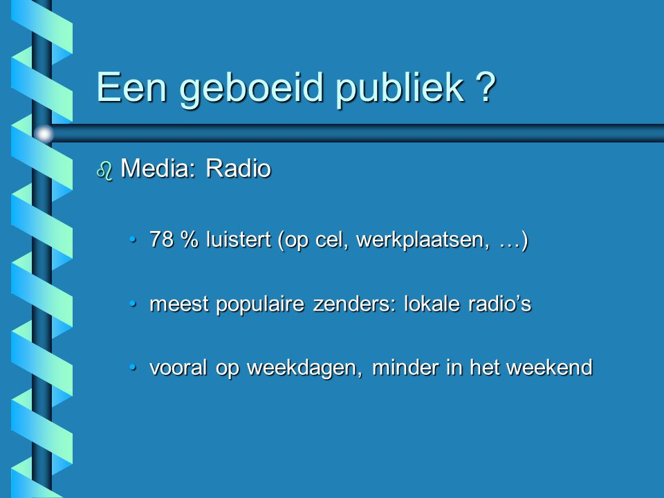 Een geboeid publiek Media: Radio
