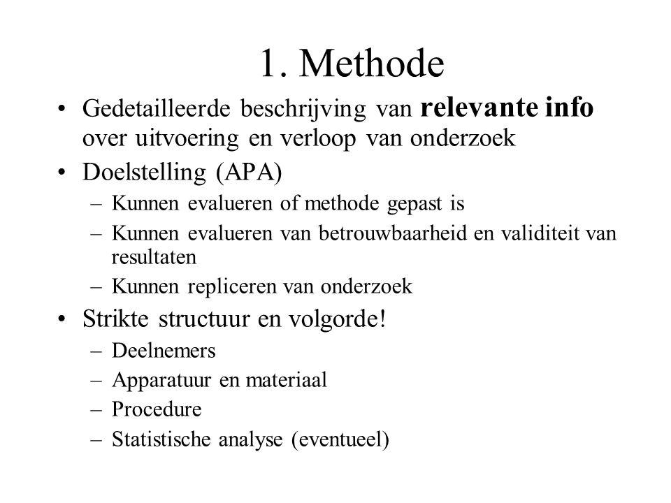 1. Methode Gedetailleerde beschrijving van relevante info over uitvoering en verloop van onderzoek.