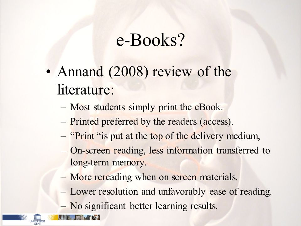 e-Books Annand (2008) review of the literature: