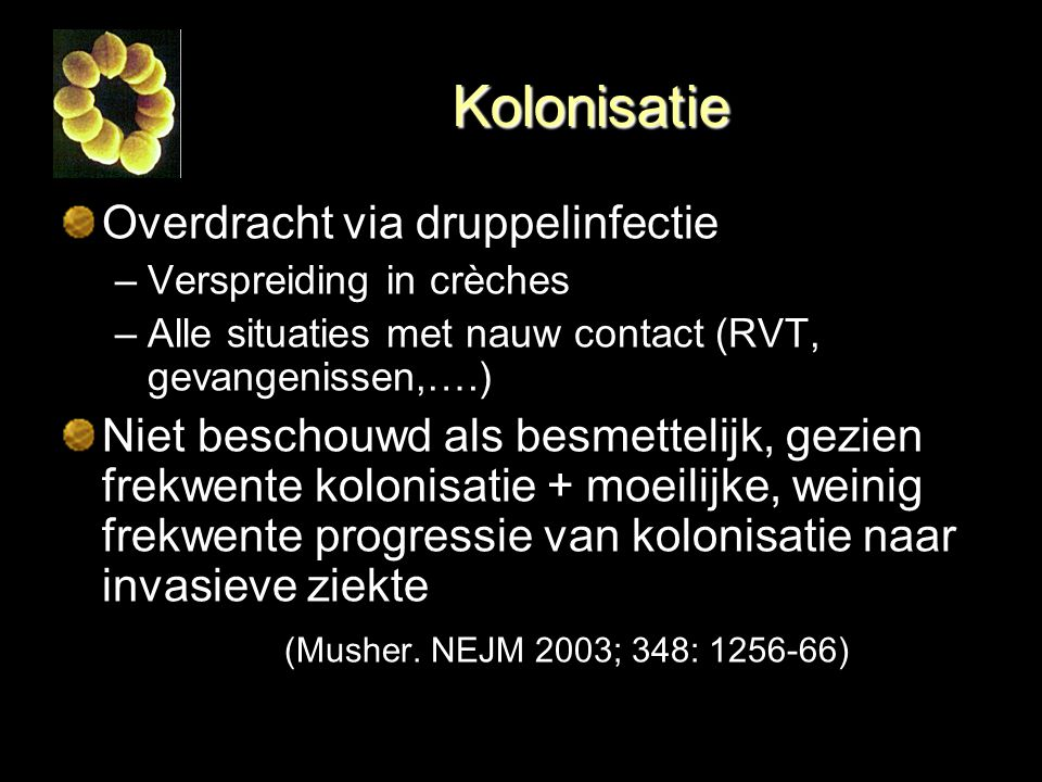 Kolonisatie Overdracht via druppelinfectie
