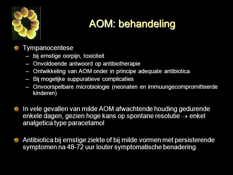 AOM: behandeling Tympanocentese