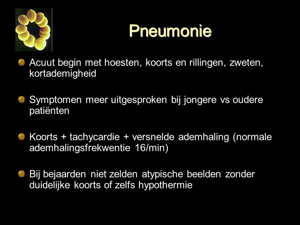 Pneumonie Acuut begin met hoesten, koorts en rillingen, zweten, kortademigheid. Symptomen meer uitgesproken bij jongere vs oudere patiënten.