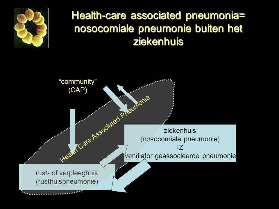 Health-care associated pneumonia= nosocomiale pneumonie buiten het ziekenhuis