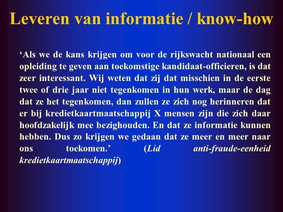 Leveren van informatie / know-how