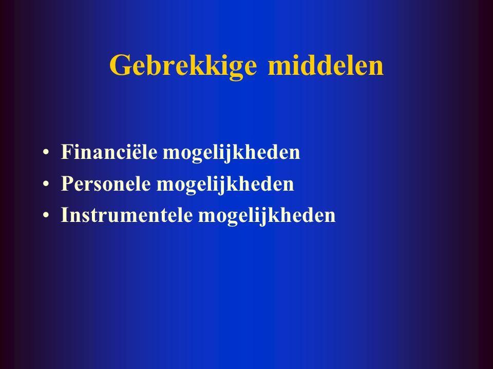 Gebrekkige middelen Financiële mogelijkheden Personele mogelijkheden