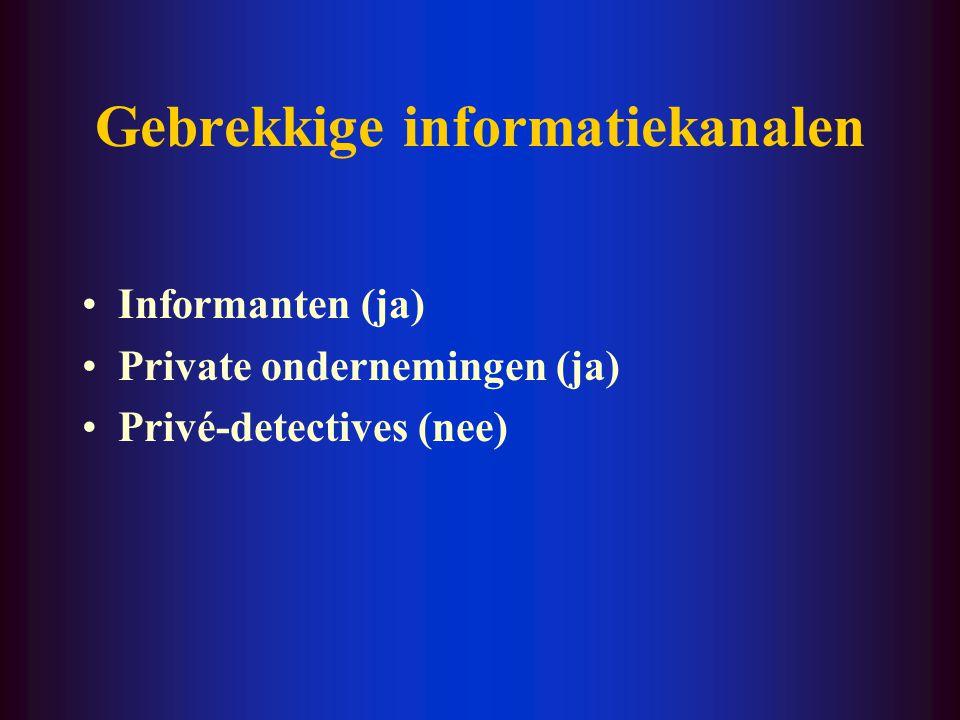 Gebrekkige informatiekanalen