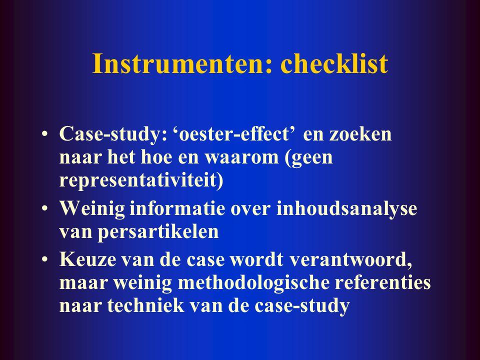 Instrumenten: checklist