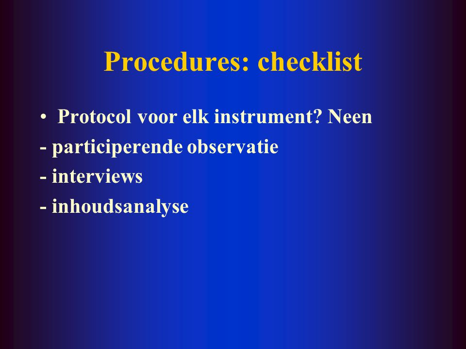 Procedures: checklist
