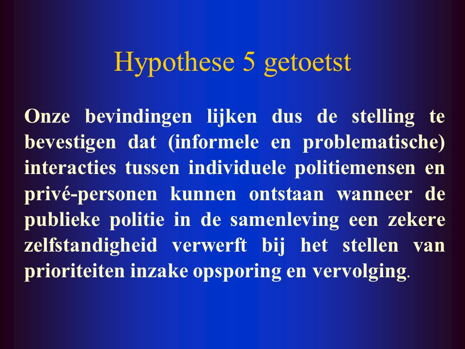 Hypothese 5 getoetst
