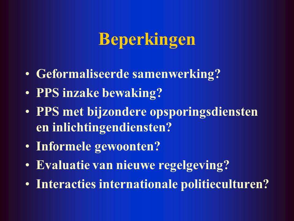 Beperkingen Geformaliseerde samenwerking PPS inzake bewaking