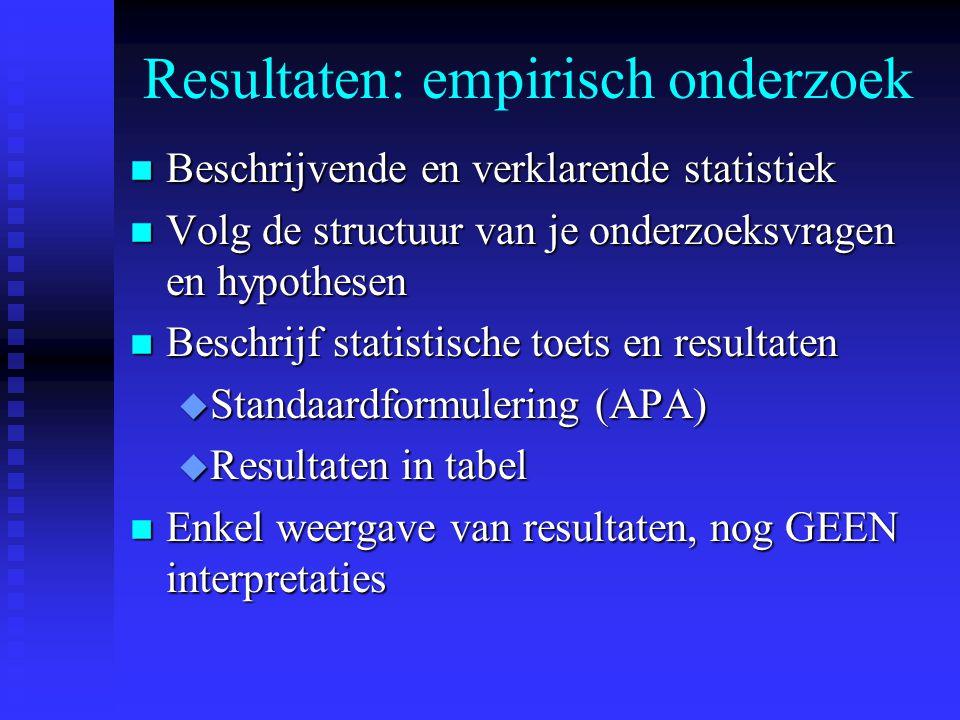 Resultaten: empirisch onderzoek