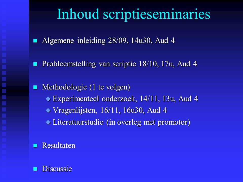 Inhoud scriptieseminaries