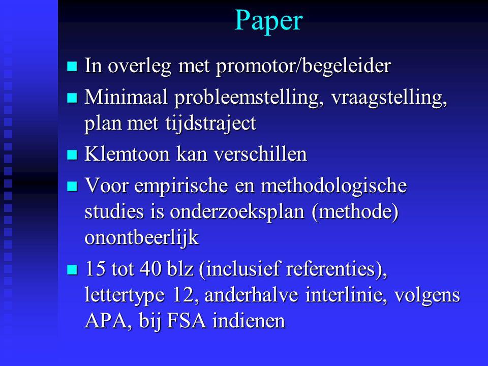 Paper In overleg met promotor/begeleider