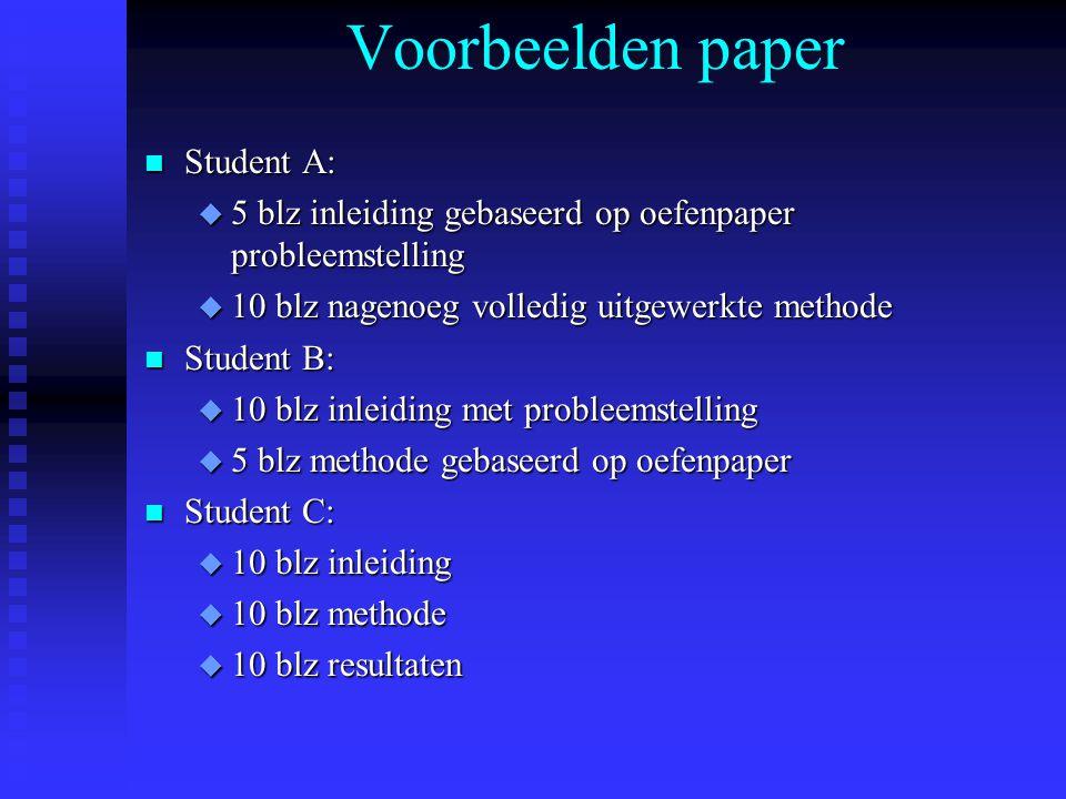 Voorbeelden paper Student A: