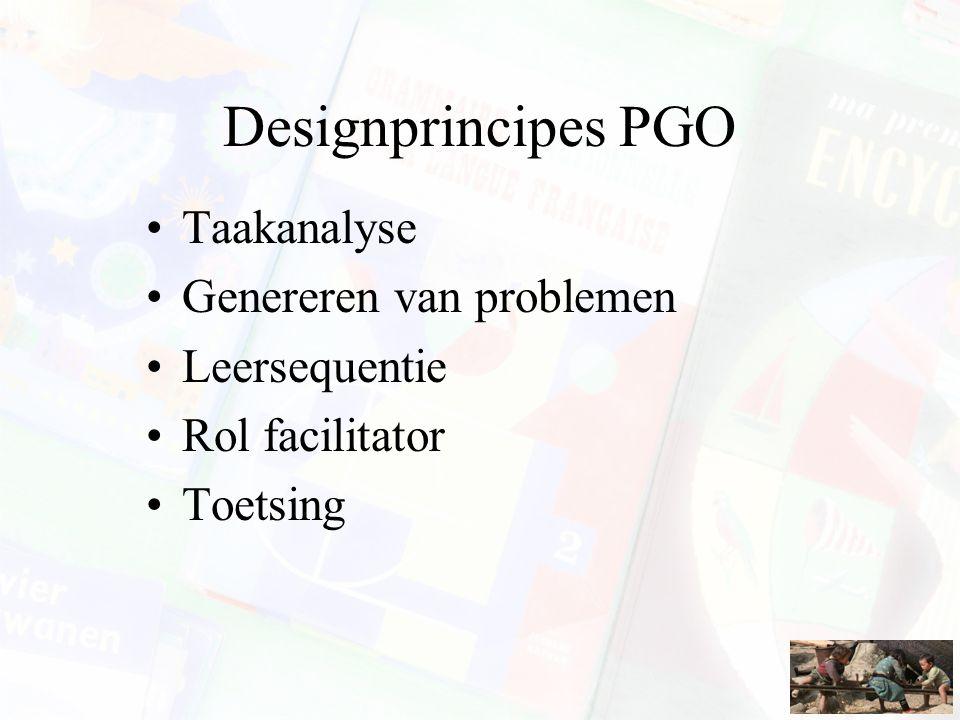Designprincipes PGO Taakanalyse Genereren van problemen Leersequentie