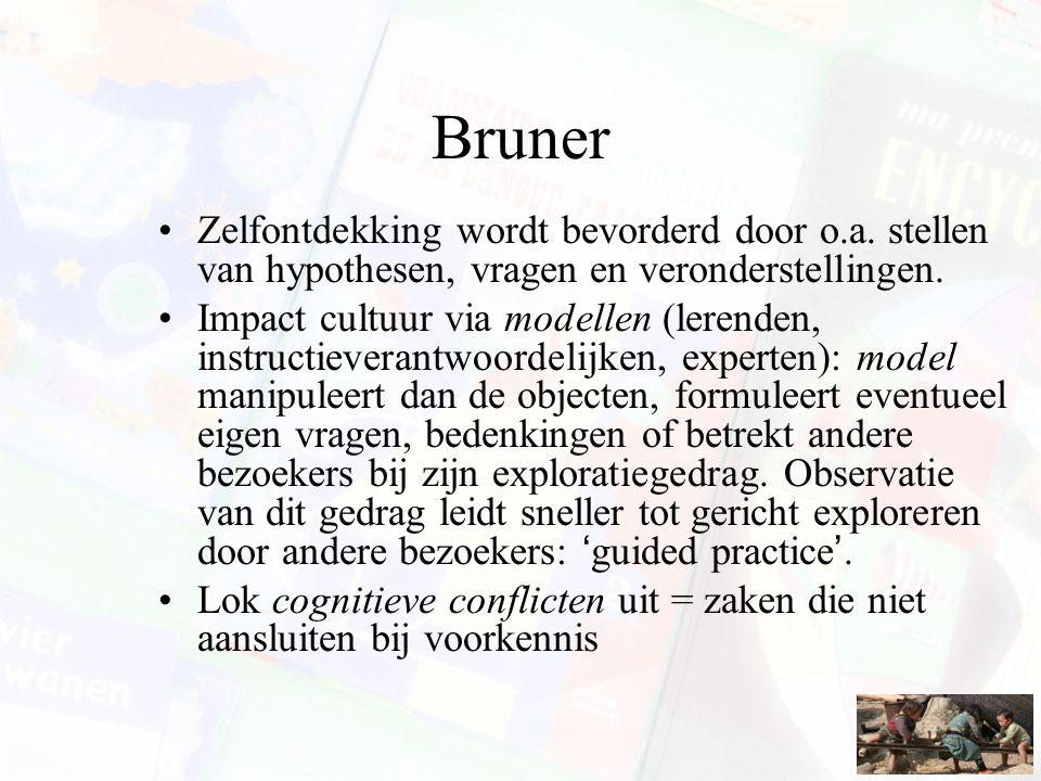 Bruner Zelfontdekking wordt bevorderd door o.a. stellen van hypothesen, vragen en veronderstellingen.