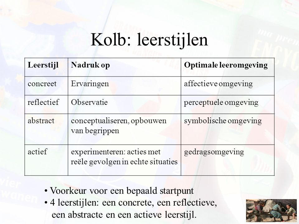 Kolb: leerstijlen Voorkeur voor een bepaald startpunt