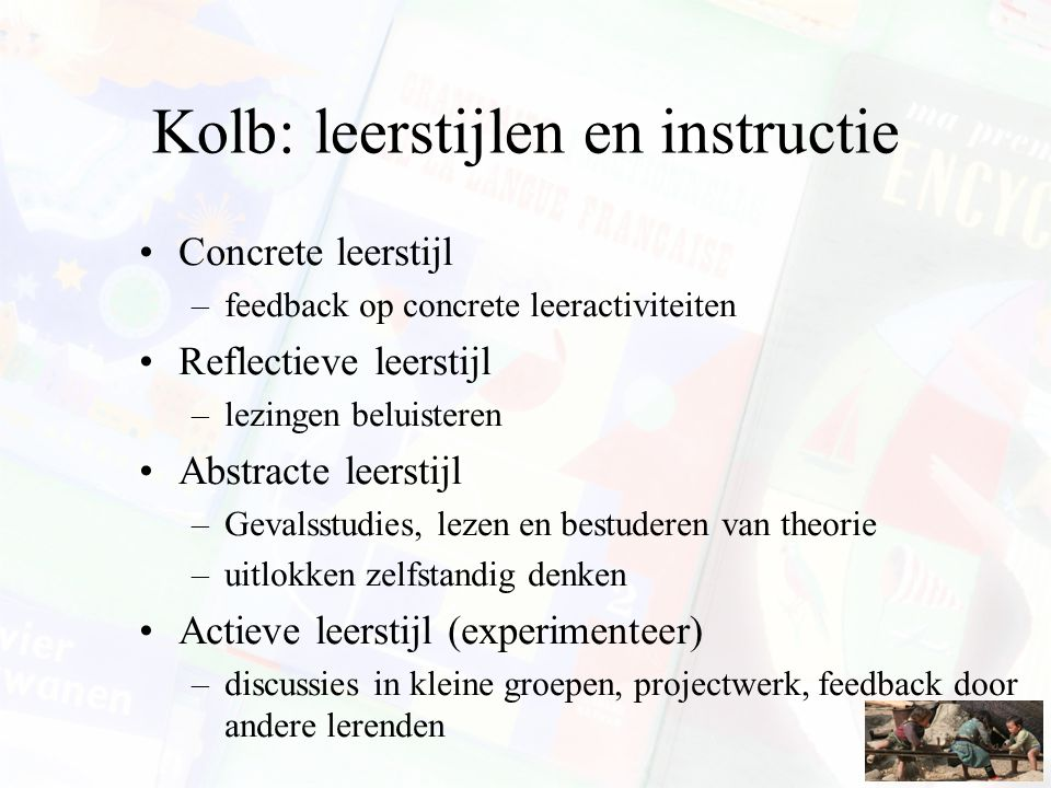 Kolb: leerstijlen en instructie