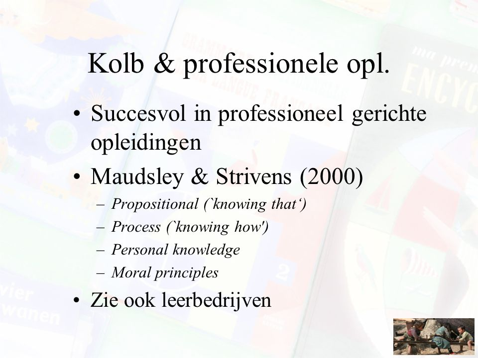 Kolb & professionele opl.