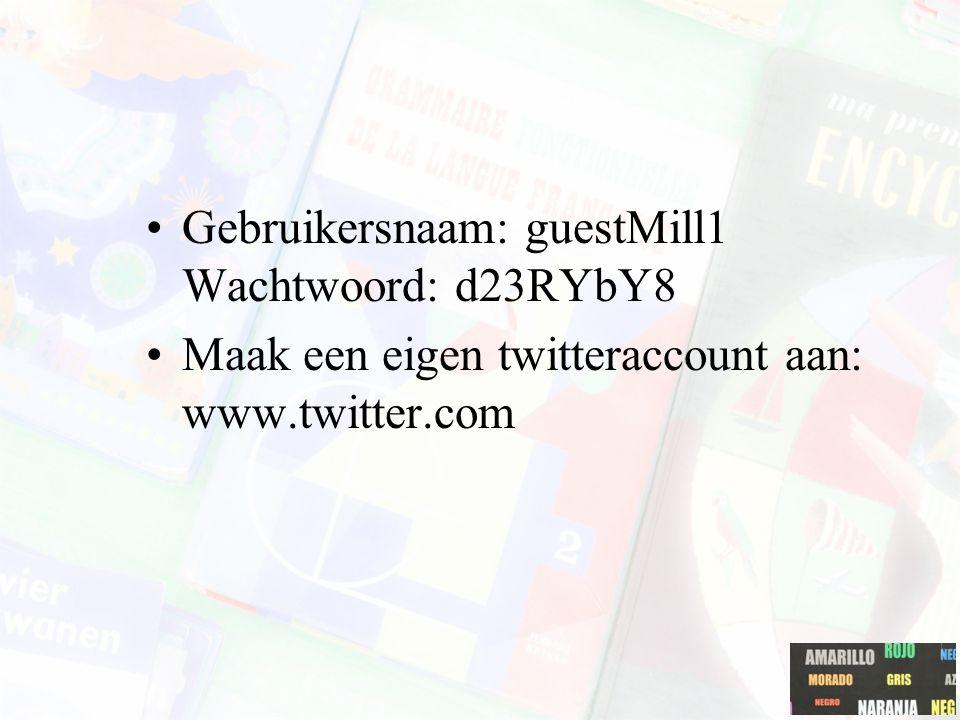 Gebruikersnaam: guestMill1 Wachtwoord: d23RYbY8