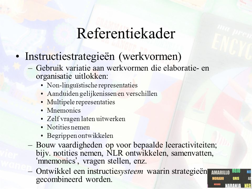 Referentiekader Instructiestrategieën (werkvormen)
