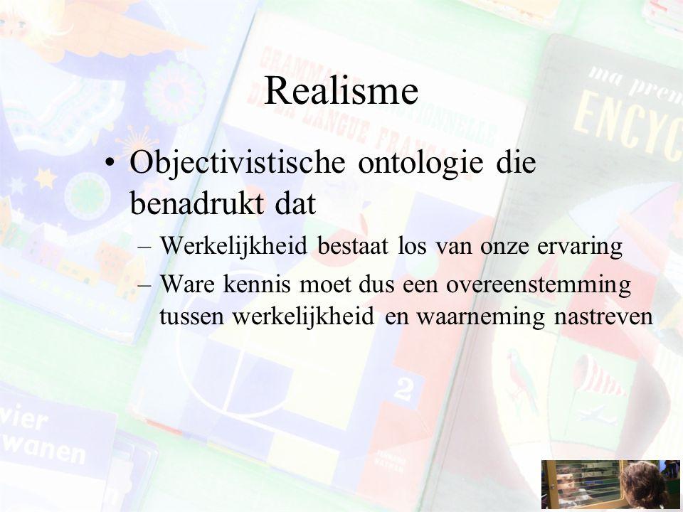 Realisme Objectivistische ontologie die benadrukt dat