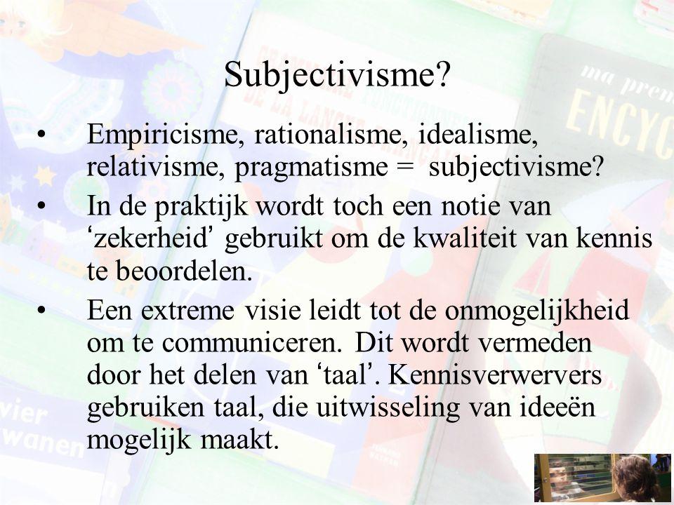 Subjectivisme Empiricisme, rationalisme, idealisme, relativisme, pragmatisme = subjectivisme