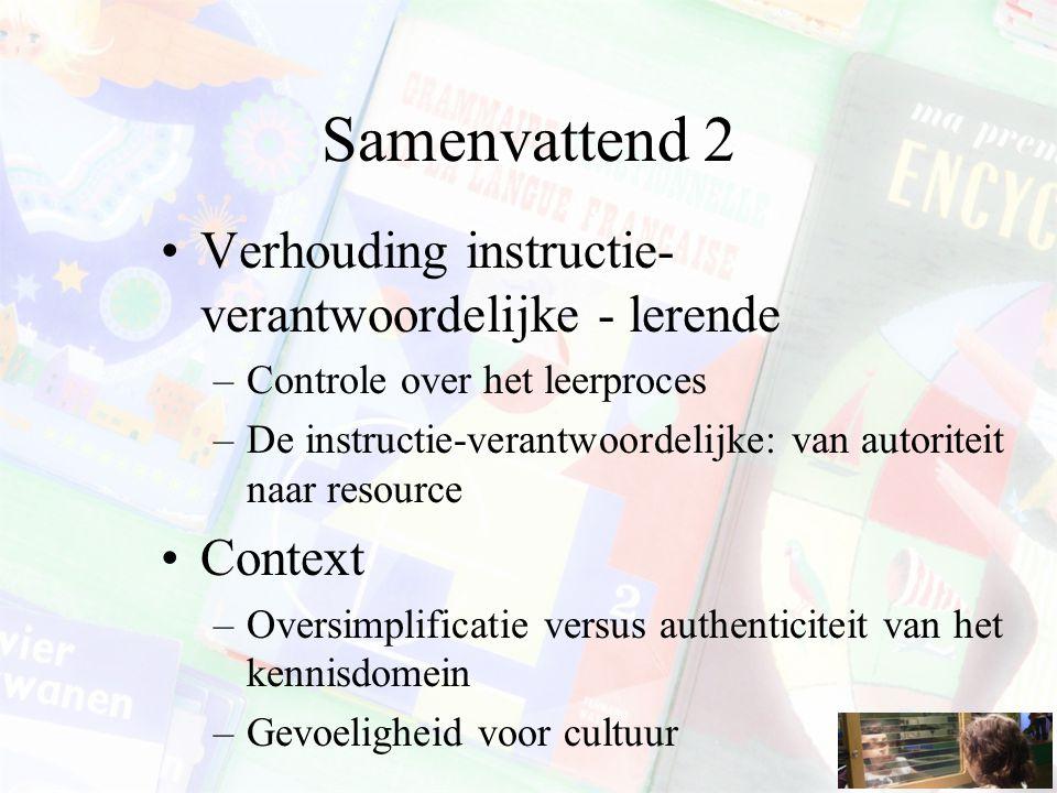 Samenvattend 2 Verhouding instructie-verantwoordelijke - lerende