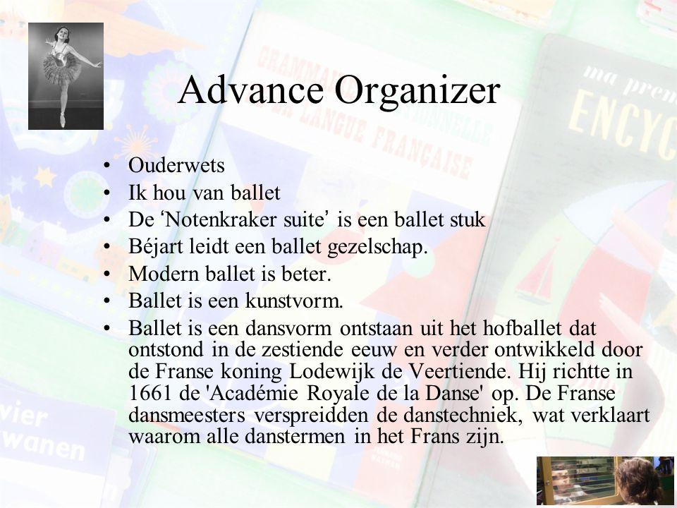 Advance Organizer Ouderwets Ik hou van ballet