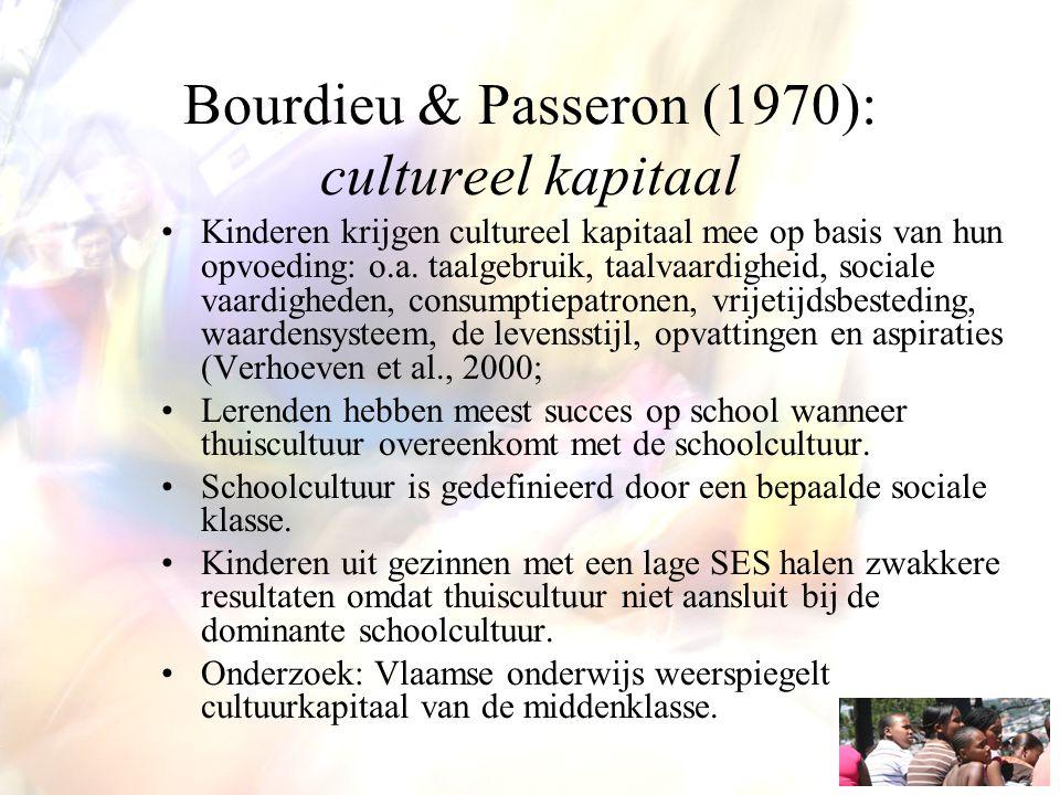 Bourdieu & Passeron (1970): cultureel kapitaal
