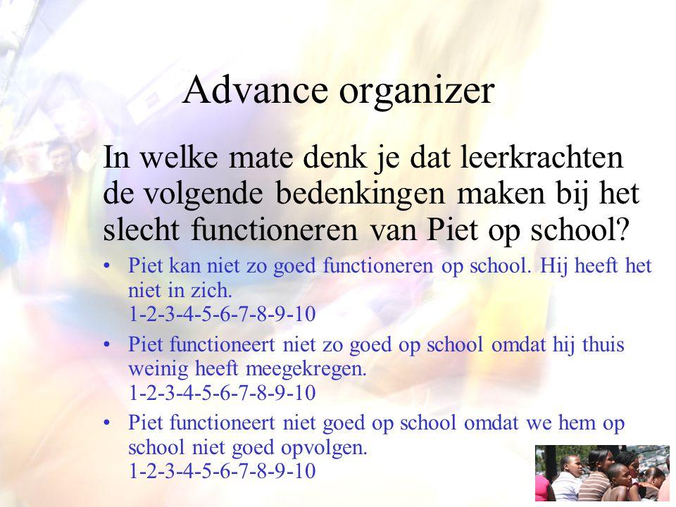 Advance organizer In welke mate denk je dat leerkrachten de volgende bedenkingen maken bij het slecht functioneren van Piet op school