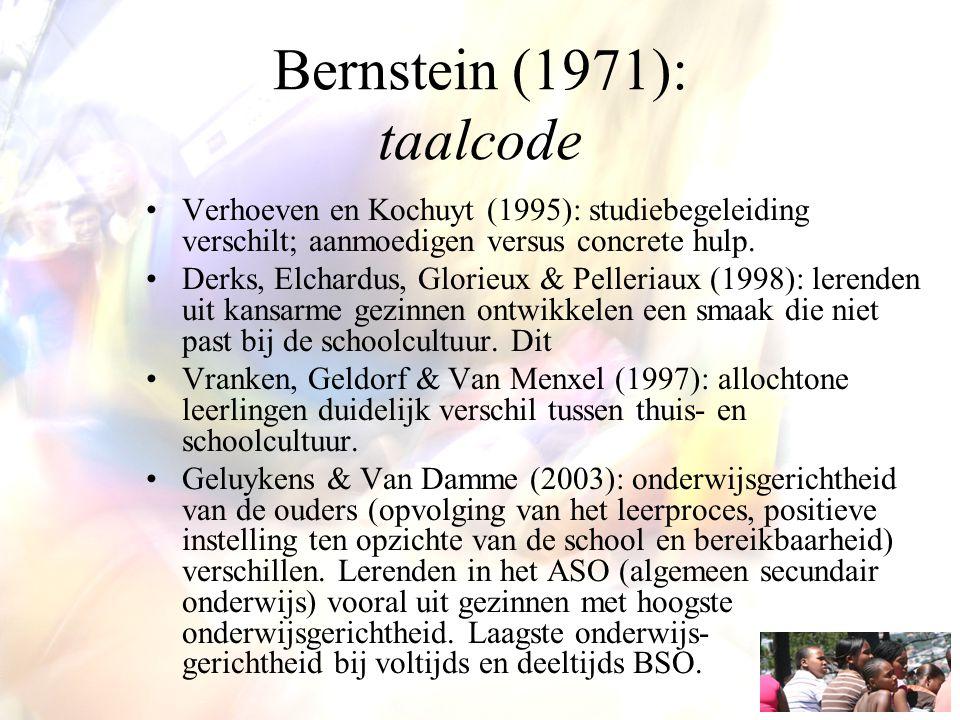 Bernstein (1971): taalcode