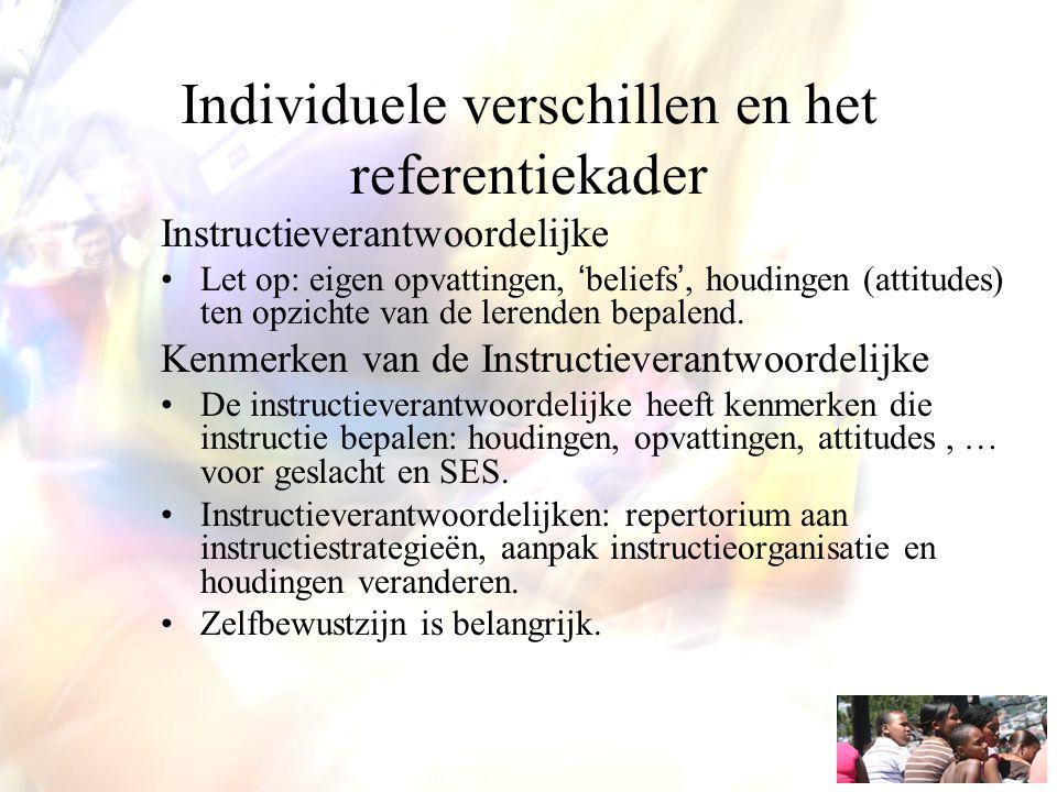 Individuele verschillen en het referentiekader