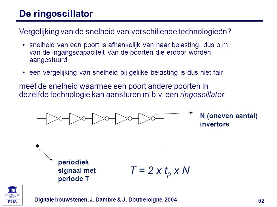 T = 2 x tp x N De ringoscillator